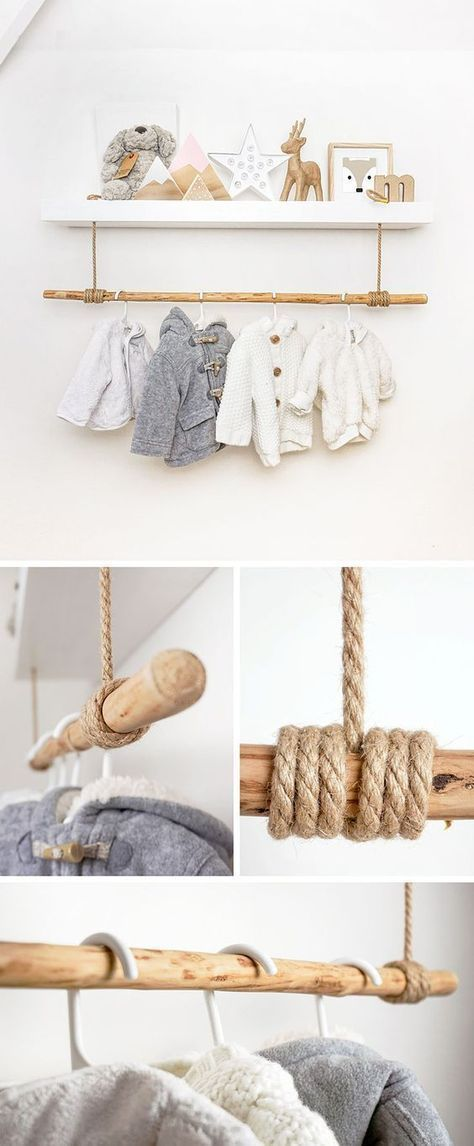 Shelf hack using thick brown rope lashed onto a rustic wooden pole to create a clothes rail. Works great in a scandi, woodland, ethnic room design. Ideal storage solution and for hanging babies clothes in a nursery.