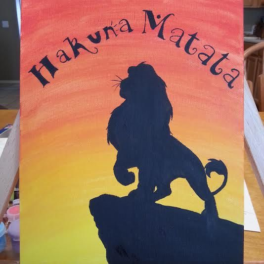 Lion King Silhouette Canvas Painting by JennyMarieArtistry on Etsy