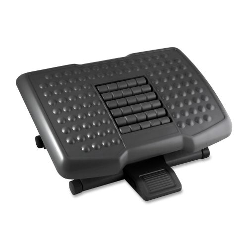 """Item #: KTKFR750  Kantek Premium Ergonomic Footrest with Rollers  6.50"""" Adjustment - Tilt - 18"""" x 13"""" x 4"""" - Black Ergonomic design to support your legs 3-level, adjustable height; adjusts from 4"""" to 6-1/2"""" Simple foot action adjusts tilt smoothly and quietly Platform rollers and surface bumps massage feet and improve circulation Overall dimensions: 18"""" W x 13"""" D x 4"""" H; Black"""