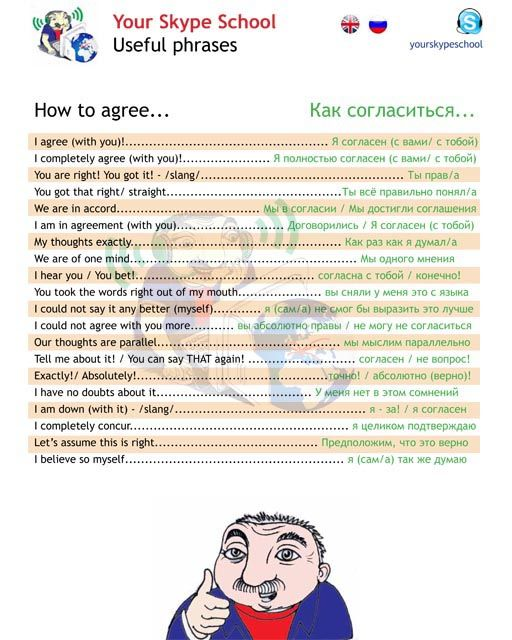 How to #agree in #english, #russian, your skype school study material, #useful #phrases #полезные #выражения #согласие