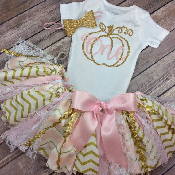 Pink and Gold Glitter Pumpkin Patch Birthday Outfit w/ Onesie / Shirt, Fabric Tutu, & Bow Headband, Fall Birthday Girl, Light Pink and Gold