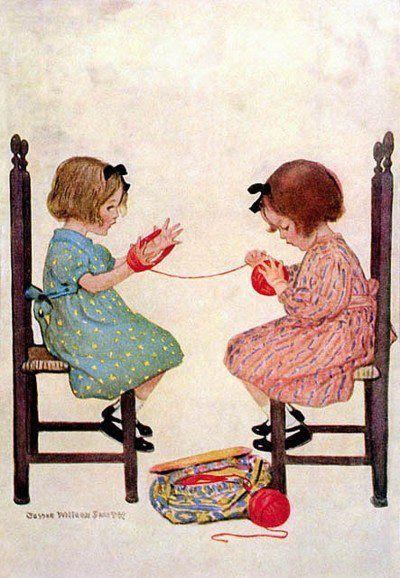 Dit is leuk, zó herkenbaar. Zo zat ik vroeger ook met mijn zusje, als mijn moeders wol gesorteerd moest worden. De kunst was het tot een mooi bolletje te winden. Mijn zusje vond het minder, die moest haar armen ophouden omdat ze nog niet zo netjes kon draaien ;-)