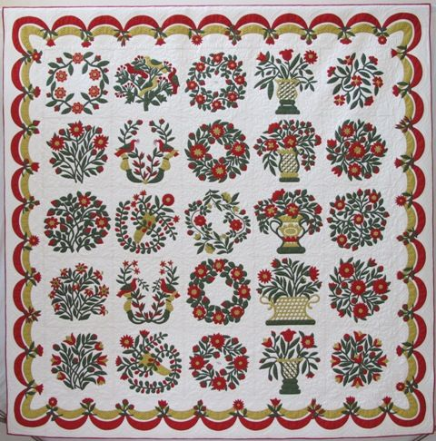Baltimore Garden, a block-of-the-month quilt at Common Threads Quilting.  This red and green quilt is a reproduction of the original M.E.C. quilt, owned by Barbara Burnham.