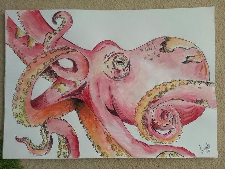 Water-colour pen & Ink Octopus Print £15 (A3)
