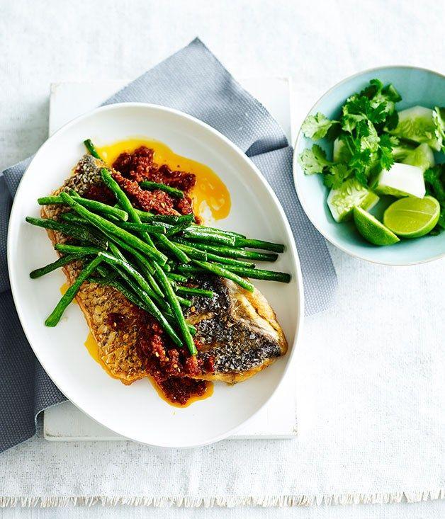 Australian Gourmet Traveller fast recipe for crisp fish with sambal and snake beans.
