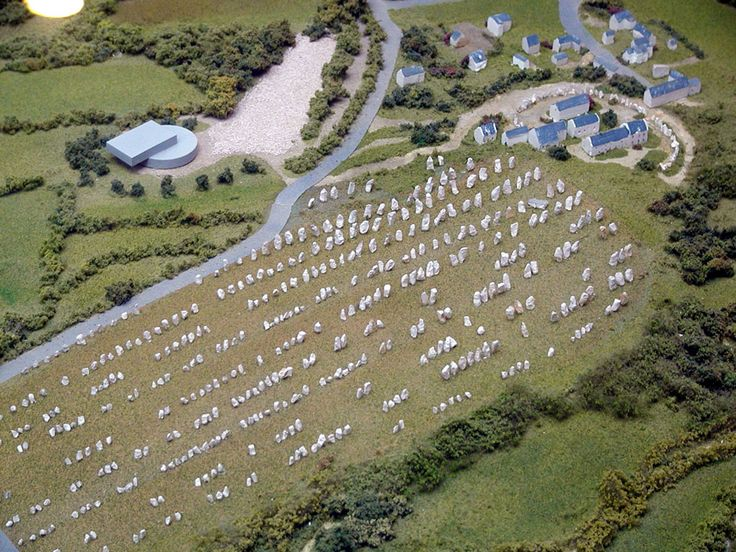 Carnac stones in France There are over 3,000 megalithic standing stones in perfect lines spread over 12 kilometers.  Local myth claims a Roman legion was marching when the wizard Merlin turned them into stone.