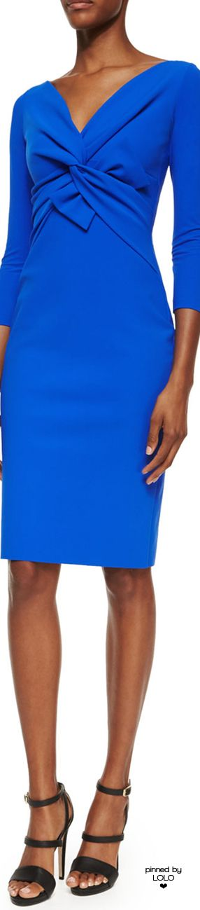 La Petite Robe di Chiara Boni Ilenia Twist-Front Sheath Dress, Cobalt | LOLO❤                                                                                                                                                      More