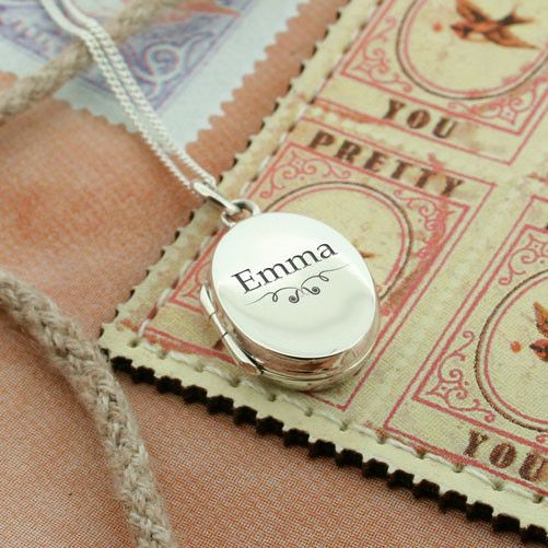 Beautiful locket which can be personalised with the name of your choice, and a lovely and heart felt thoughtful gift for a special girlfriend or family member. Ornate Personalised Oval Locket - yourgifthouse