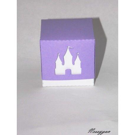 """Boîte dragée carrée thème """"Princesse"""" pour baptême"""