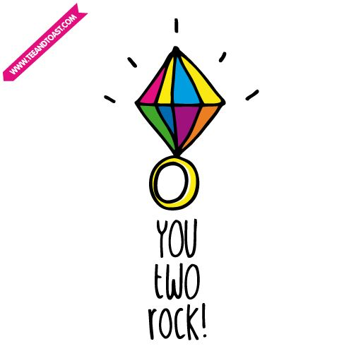 You two rock! Wedding / engagement card by Teeandtoast.com.