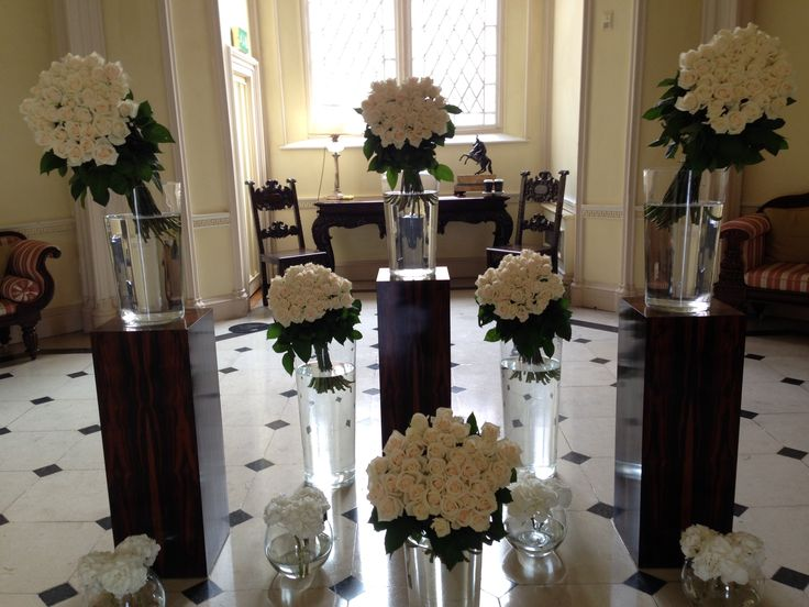 Contemporary arrangement of Roses in the entrance hall in Luttrellstown Castle