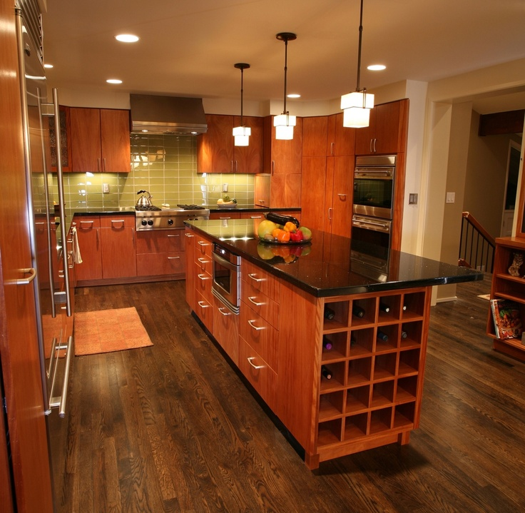 Contemporary mahogany kitchen and island so i can see for Mahogany kitchen designs
