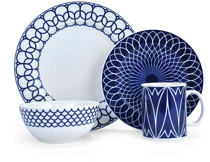 Set a coordinated table with this inidual place setting set. With plates bowls and cups for every occasion you can custom-tailor your dinnerware needs.  sc 1 st  Pinterest : blue china dinnerware sets - pezcame.com