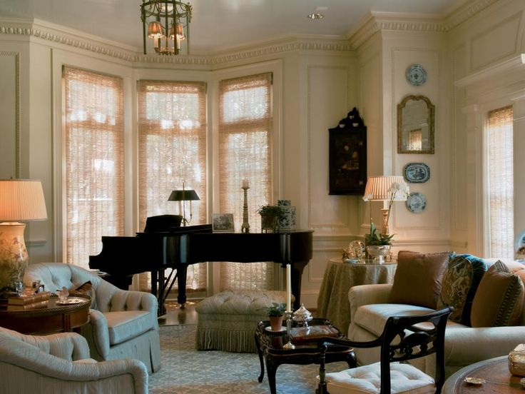 This formal sitting area is perfect for casual - Baby grand piano living room design ...