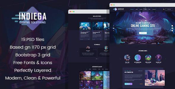 Indiega Gaming Psd Template Psd Templates Psd Template Free Game Websites