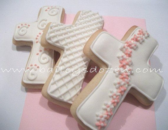 Christening CommunionCross Cookie Favors  Girl or by Baileysdozen, $24.00