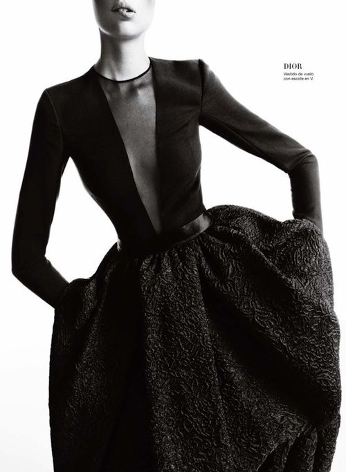 ill take dress and belt. vogue—dior: really just a classic well designed basic black fall dress, loue heavy of fabric texture appearance pleating transparency and u cut out at neck and that goes down loue crew neck again loue long sleeues tight but loose a bit and blet