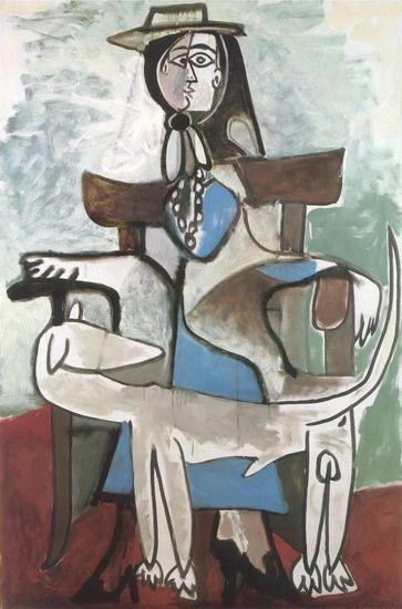 "Pablo Picasso - Pablo Picasso - ""Jacqueline ( Roque and Afghan dog"", 1959"