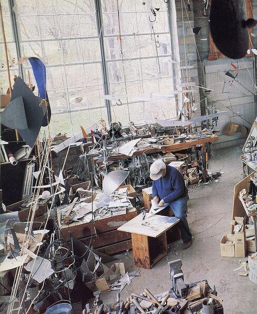 Alexander Calder in his studio