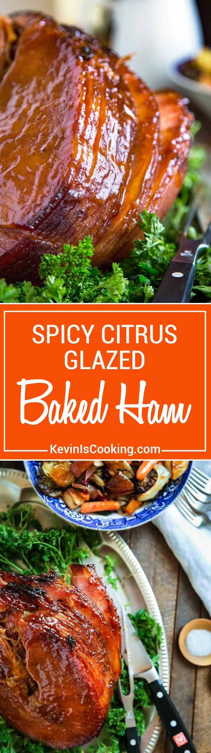 The family LOVES this one! This Spicy Citrus Baked Ham Glaze develops a wonderful, caramelized crust that's just mouthwatering using orange juice, cinnamon, clove and chipotle powder. via @keviniscooking