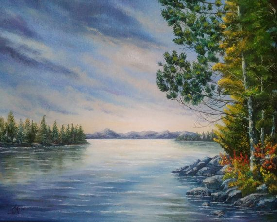 landscape painting Sunset lake Algonquin Park, Ontario, Canada by svetlanamatevosjan #art for sale #oil painting #ukrainian painter