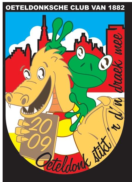 Mijn inzending voor de jaarlijkse Oeteldonkse ontwerpwedstrijd voor het logo van het jaar 2009. Thema Oeteldonk stikt 'r d'n draok mee!     Met extragratis dialect spelvaudt