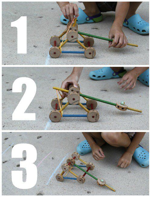 Tinker Toy Catapult Experiment:  I need to do this.  I may need another set of tinker toys!