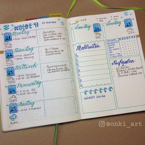 bullet journal weekly spread woche 47