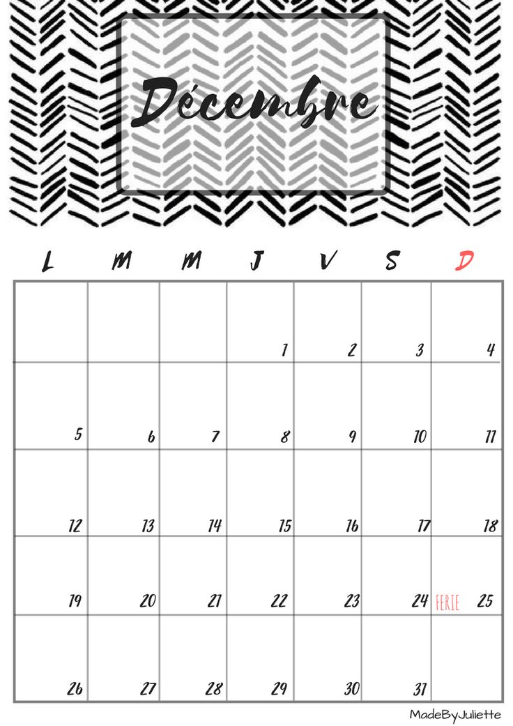 Calendrier - Décembre 2016 - Imprimes le calendrier pour customiser ton agenda! A VOIR : ma vidéo sur youtube
