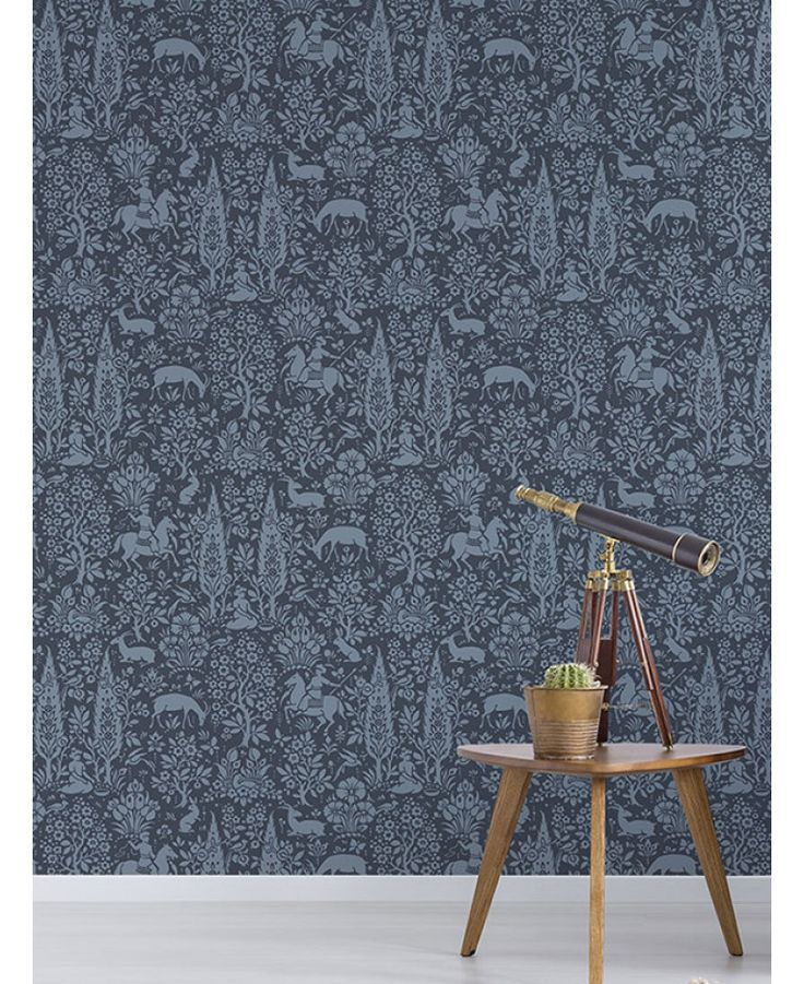 The Crown Archives Woodland Wallpaper offers traditional, intricate forest themed patterns in dark and cornflower blue tones. Free UK delivery available
