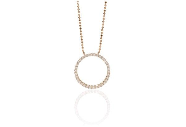 Pendant Biella Grande - 18k rose gold plated with white zirconia
