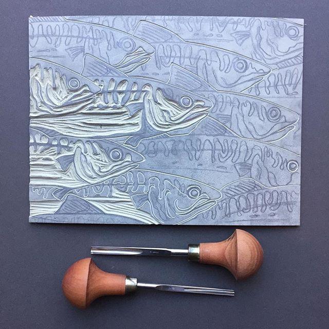Work on my new block is in progress ... taking it nice and slowly so may take a while! Linocut by Claire McKay. #linocut #linoprint #printmaking #handmade #artistsoninstagram #mackerel #artistsofinstagram