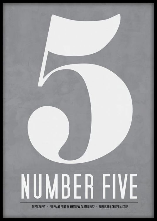 Tavla med siffran fem