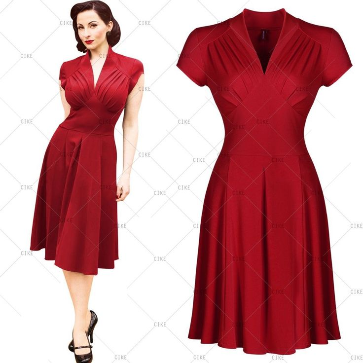 Womens Vintage Retro 1940s 50s Dress Flared Cocktail Party Wiggle Swing Dresses | eBay