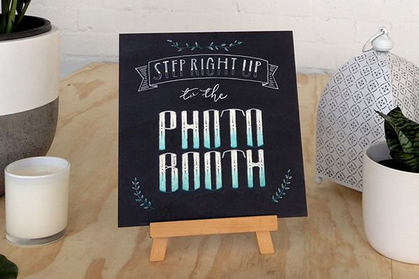 Step right up to the Photo Booth! inkify-chalkboard-blackboard-wedding-sign-photobooth