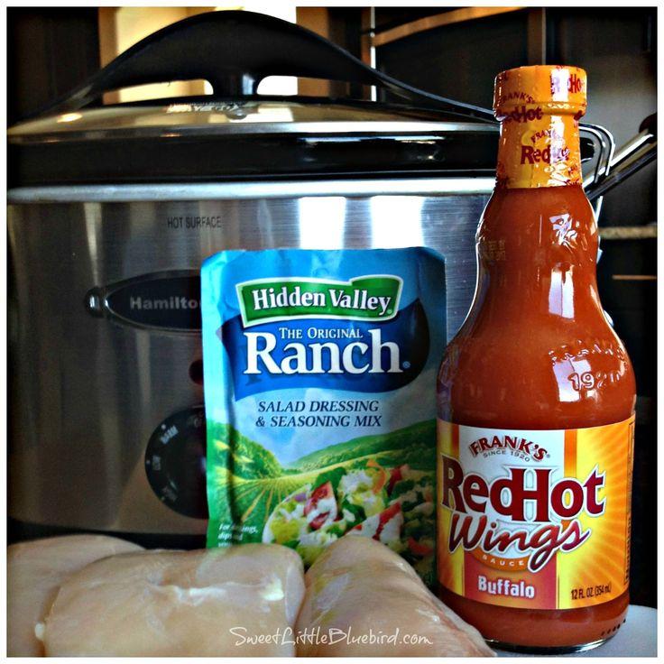 Sweet Little Bluebird: Crock Pot Buffalo-Ranch Shredded Chicken Sandwiches - poach chicken in stock first then coat with hot sauce/ ranch mixture
