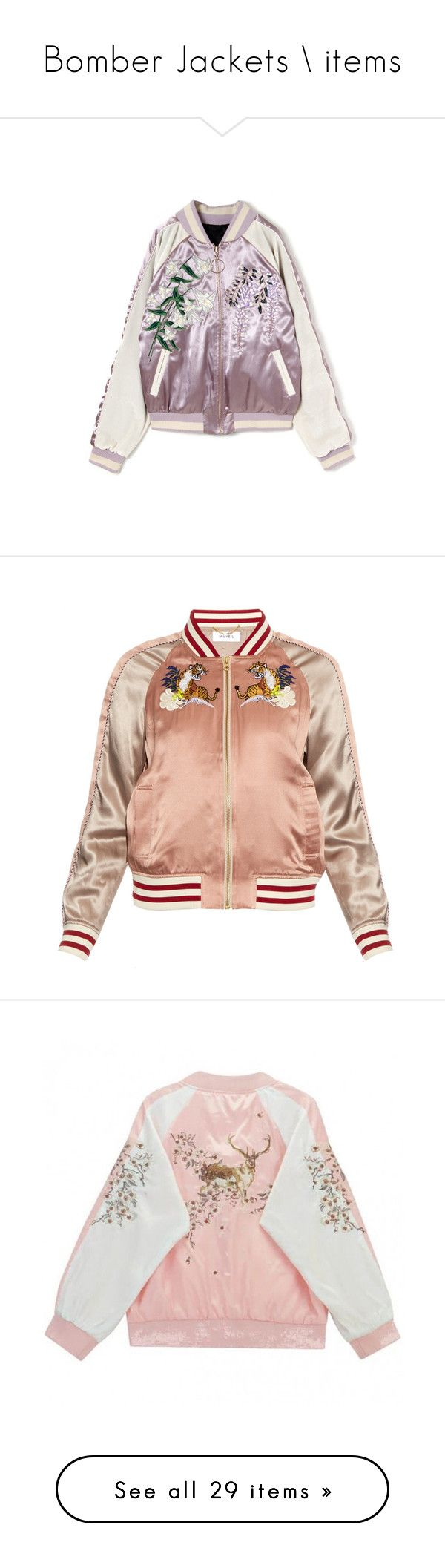 """Bomber Jackets \\ items"" by kahla-robyn ❤ liked on Polyvore featuring outerwear, jackets, tops, bomber, bomber jacket, blouson jacket, bomber style jacket, flight bomber jacket, silk bomber jacket and 80s jackets"