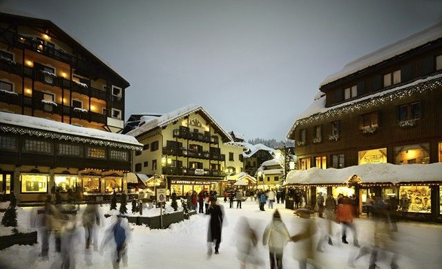 Charming Madonna di Campiglio at night after a day of skiing
