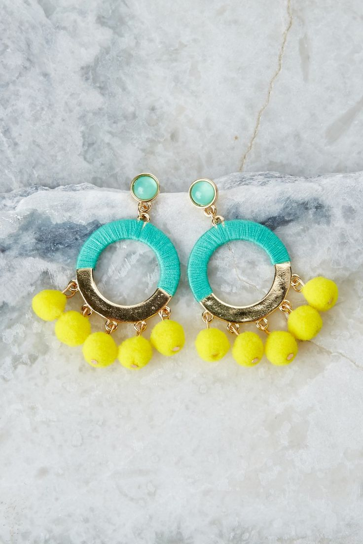 Wanna Have Fun Yellow Pendant Earrings at reddressboutique.com