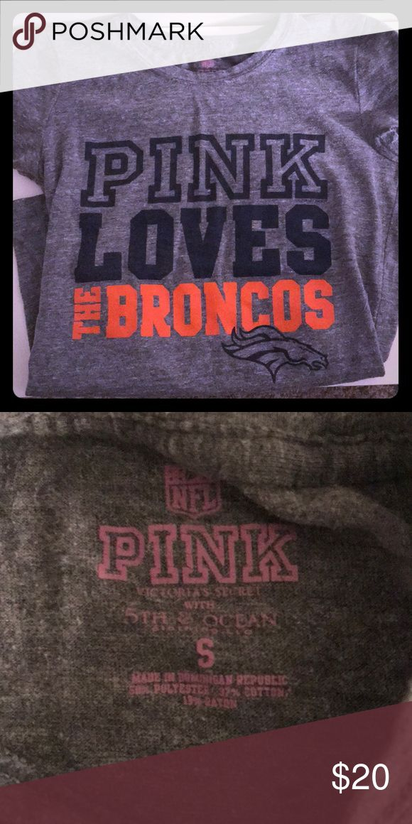 Victoria's Secret Denver Broncos T-shirt Reposh Denver Broncos T-shirt from PINK Victoria's Secret size S. No flaws or stains just was too small unfortunately PINK Victoria's Secret Tops Tees - Short Sleeve