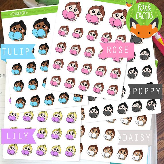 Fitness Kawaii meisje Sticker oefening Workout boksen instellen - Planner Stickers - Planner decoraties - Kikki-K & Erin Condren