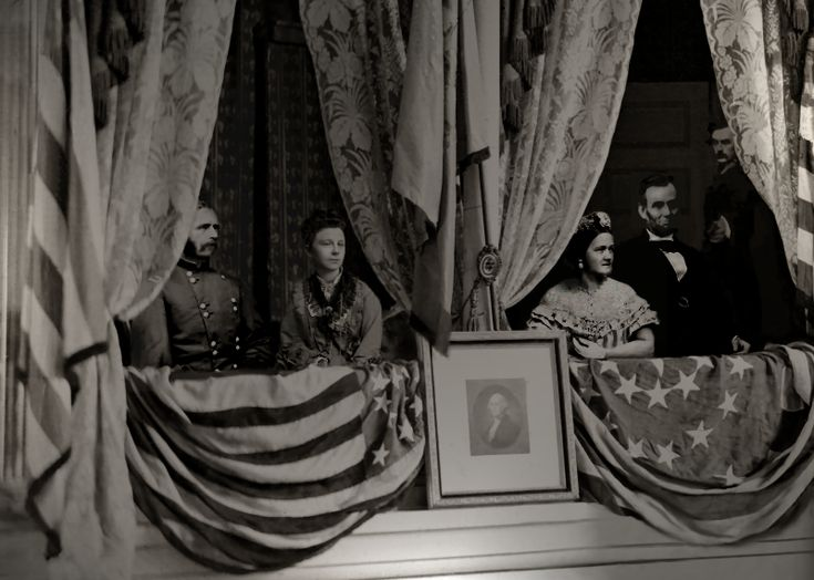 Depiction of The assassination of Abraham Lincoln. From left to right: Henry Rathbone, Clara Harris, Mary Todd Lincoln, Abraham Lincoln, and Booth.: Art Composition, Mary Todd Lincoln, Dark Backgrounds, Abraham Lincoln, Sit Watches, U.S. Presidents, Ford Theatre, American Cousins, John Wolf
