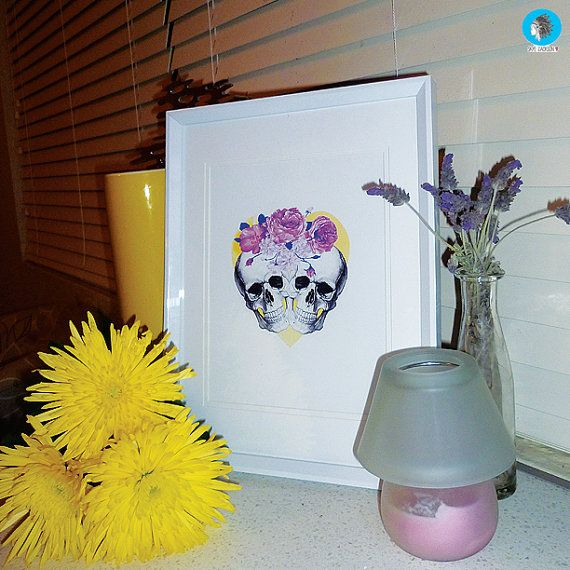 Skulls and Roses illustration watercolour love heart by SkyeJack, $20.00