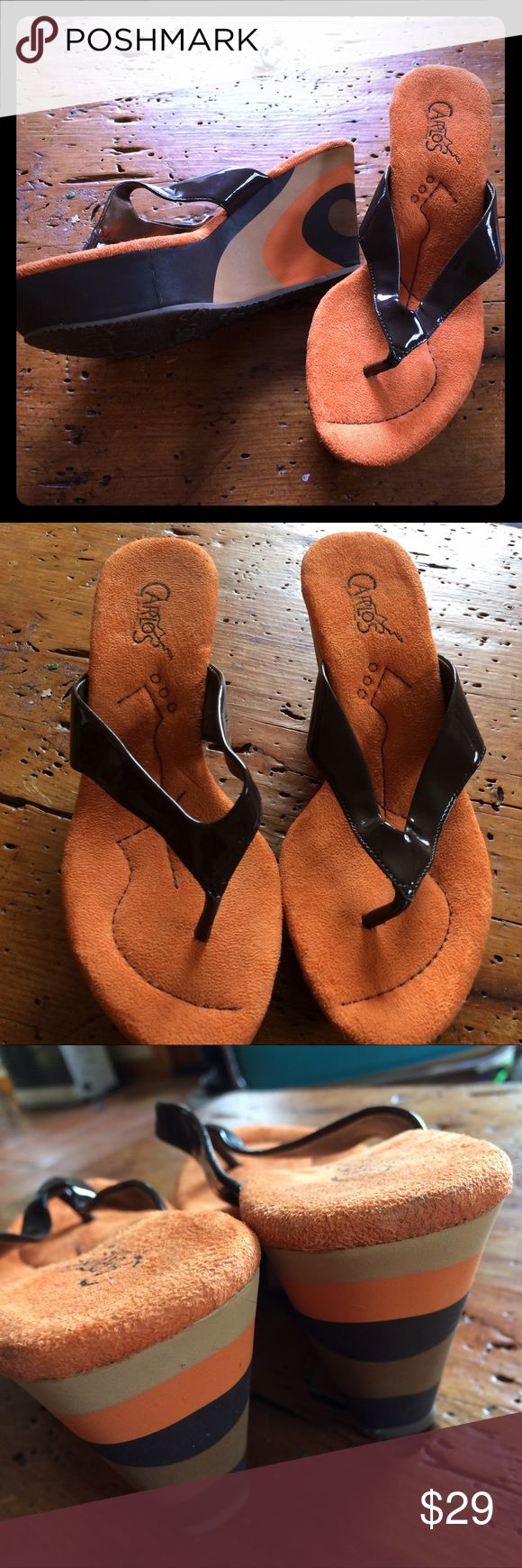 """Carlos Santana mod wedge mule sandals 6 m orange Carlos Santana mod wedge mule sandals 6 m orange uppers with mod pop art circle design in sides of wedge heel about 3.5"""" bronze shiny man made straps Carlos Santana Shoes Wedges"""