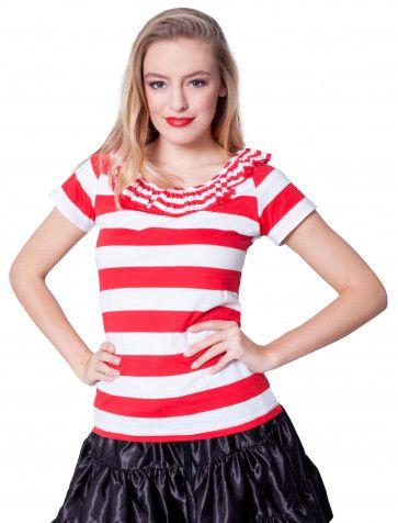 b843cdcac0cb7a Rüschenshirt rot weiß  Kostüm  Idee  Karneval  Fasching  Damen  Ringelshirt