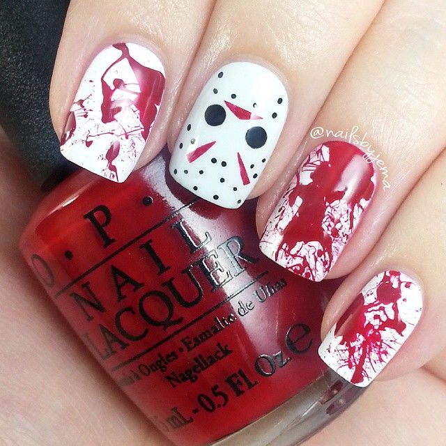 Instagram media nailsbyjema - Jason Voorhees and blood splatter  halloween  #nail #nails #nailart