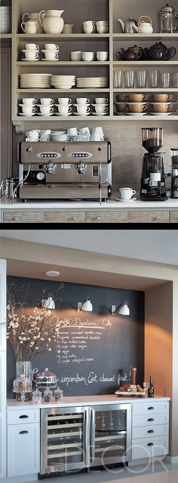 Wine Fridge - Some day I truly want a commercial espresso machine and grinder in my home...just seems awesome to me!