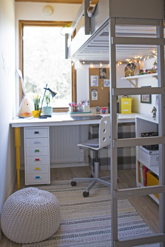 Antons room is only 4 sqm but I Think I managed to fit Everything he needed. Lego storage  (the IKEA cabinet), big desk for Lego making..with prettypegs desk pegs.