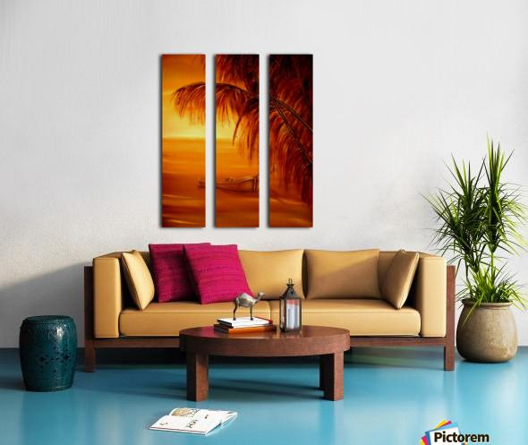 Triptych, 3 split, stretched, canvas, multi panel, prints, for sale, tropical,painting,wall,art,coastal,scene,orange,beautiful,images,sunset,sunrise,boat,palmtrees,home,office,decor,artwork,for,sale,nature,seascape,ocean,contemporary,modern,cool,awesome,nautical,marine,island,sea,water,wooden,gold,golden,fine,oil,items,ideas