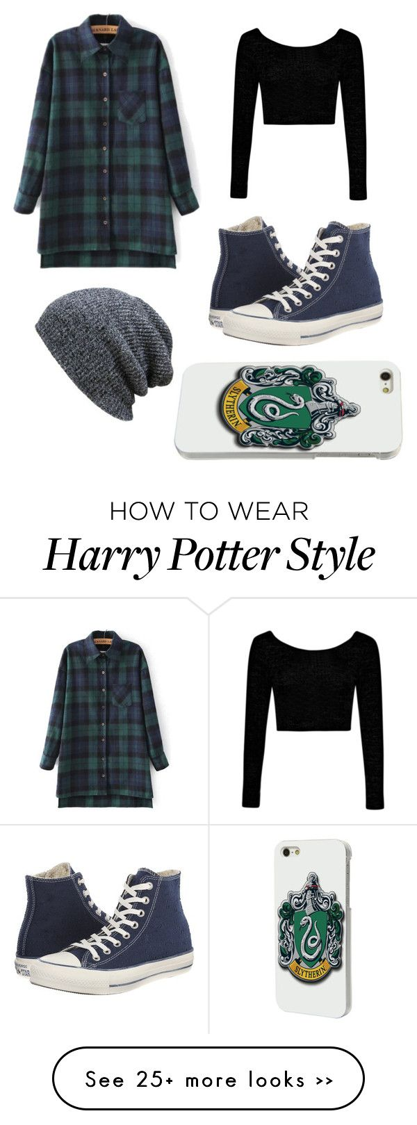 """Harry Potter"" by wimzeywimzey on Polyvore featuring Boohoo and Converse"